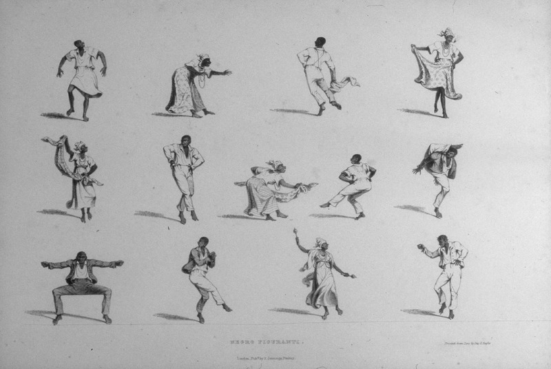 "Bridgens described ""men and women in various dance positions; all their movements in dancing are marked by great activity (Bridgens). Woman on bottom row (2nd from right), holds a shakshak or rattle."" A sculptor, furniture designer and architect, Richard Bridgens was born in England in 1785, but in 1826 he moved to Trinidad where his wife had inherited a sugar plantation, St. Clair. Although he occasionally returned to England, he ultimately lived in Trinidad for seven years and died in Port of Spain in 1846. Bridgens' book contains 27 plates, thirteen of which are shown on this website. The plates were based on drawings made from life and were done between 1825, when Bridgens arrived in Trinidad, and 1836, when his book was published. Although his work is undated, the title page of a copy held by the Beinecke Rare Book Room at Yale University has a front cover with a publication date of 1836, the date usually assigned to this work by major libraries whose copies lack a title page. Bridgens' racist perspectives on enslaved Africans and his defense of slavery are discussed in T. Barringer, G. Forrester, and B. Martinez-Ruiz, Art and Emancipation in Jamaica: Isaac Mendes Belisario and his Worlds (Yale University Press, 2007), pp. 460-461. Bridgens' life is discussed extensively along with discussion of his drawings and presentation of many details on slave life in Trinidad in Judy Raymond, The Colour of Shadows: Images of Caribbean Slavery (Coconut Beach, Florida: Caribbean Studies Press, 2016). Raymond's book, which is an essential source for any study of Bridgens, also includes a number of unpublished sketches of Trinidadian slave life. See also Brian Austen, Richard Hicks Bridgens (Oxford Art Online/Grove Art Online)."
