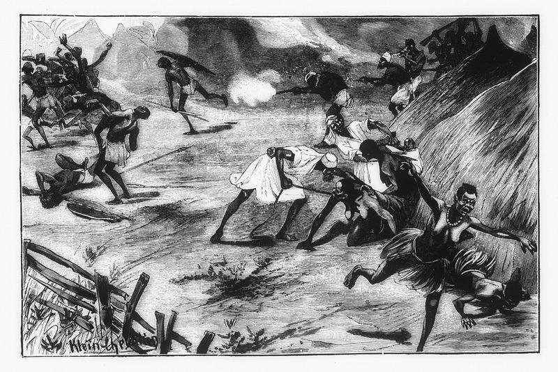 """This illustration shows Arab raiders, which von Wissman described as """"eager to obtain slaves and ivory, chasing and slaying members of the West African Benecki, who attempted to flee into the forest. The Benecki always returned to their villages and fields, but when the harvest was ready, the slave traders would reappear to seize crops and people. The author writes that war, slave-robbery, famine, and pestilence had actually been able to completely depopulate this densely populated territory""""  (pp. 185-86). Hermann Wilhelm Leopold Ludwig Wissmann (1853–1905) was a German explorer and administrator in Africa, who traveled through the Congo River basin in the Central Interior. After, Wissmann served King Leopold II of Belgium and aided in the process of creating the Congo Free State."""