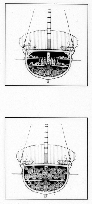 Artists' reconstruction of cross section of hold. The top illustration depicts the Henrietta Marie converted to carry Africans on the middle passage. The bottom shows the Henrietta Marie converted to carry cargo. The Henrietta Marie transported about 200 slaves from the Bight of Biafra to Jamaica in 1699-1700. Although these are not historical images, they accurately represent the conditions on this ship.