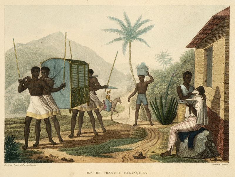"Ile de France refers to the island of Mauritius off the coast of Madagascar. This image shows four possible enslaved men carrying a palanquin or covered litter. On the right, a man is being shaved by a barber by the side of what appears to be a wood plank house. The palanquin was described in the list of plates as ""a type of carriage/coach used by the rich [white] colonists of this country."" This engraving, by Lerouge and Bernard, but based on a drawing by Jacques Arago, was published in an elaborate Atlas of 112 plates, some in color, based on drawings made by various artists during a French geographical expedition in the early nineteenth century. The expedition visited Rio in in Dec. 1817-Feb. 1818. The Atlas accompanies a multi-volume account of the expedition, and is sometimes cataloged under the authorship of Ministere de la Marine et des Colonies, rather than Freycinet, the commander of the expedition. Louis Claude de Saulces de Freycinet (1779–1841) was a French navigator, who circumnavigated the earth, and in 1811, published the first map to show a full outline of the coastline of Australia."