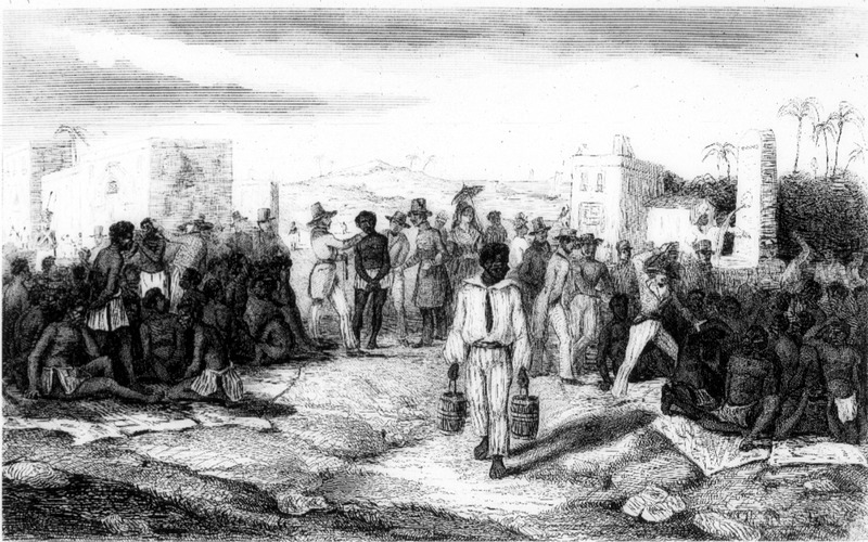 """""""The Sale of Negroes"""" (caption translation). This image accompanies an article on the slave trade. The area of the illustration is not identified, but it was likely one of the French Caribbean colonies."""