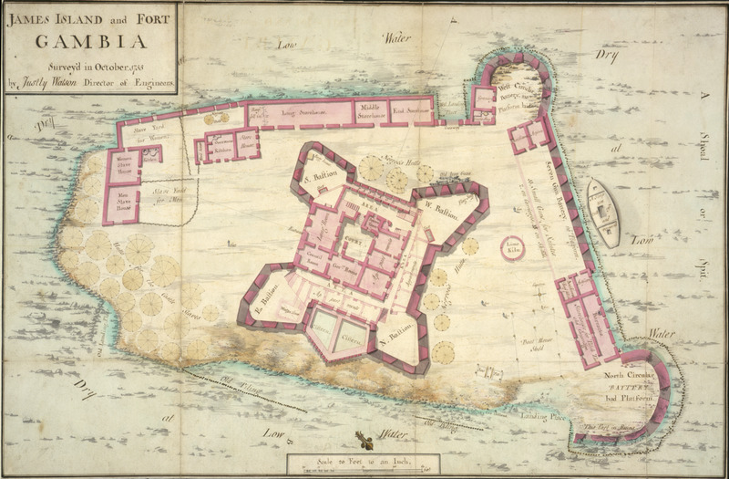 Surveyed in October 1755 by Justly Watson, Director of Engineers, this colored manuscript plan shows the fort, its storehouses, gun battery, quarters for European personnel, and, in the upper right, the quarters and yards where slaves were kept. Surrounding the central part of the fort on three sides, indicated by faint round circles, are the hutts for the castle slaves (left side) or Negros Hutts (right side and top). Another very clear architectural drawing of James Island and its fort was done in 1727 by William Smith, surveyor of the Royal African Company (see image mariners16 on this website ). Watson's drawing shows many more details and structures, indicating how the fort expanded between 1727 and 1755.