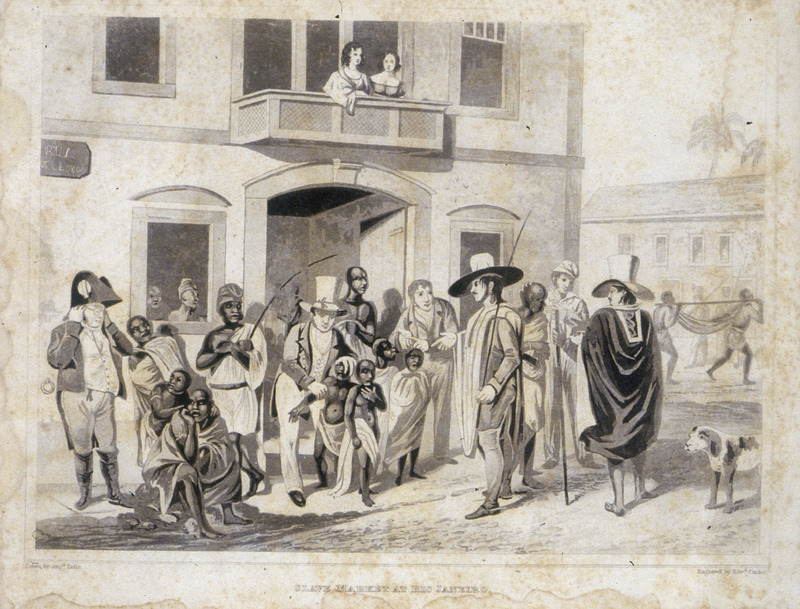 This street scene shows enslaved children and adults with European buyers and sellers. The engraving derives from a painting made by Augustus Earle (1793–1838) was a British painter who traveled widely and lived in Rio de Janeiro between 1820 and 1824. His art provide an accurate record of European colonization during the nineteenth century. Maria Graham (née Dundas; 1785–1842), also known as Maria Lady Callcott, was a British writer of travel and children's books, as well as an illustrator. She went to Brazil on her return to England from Chile in 1823, which is the year Brazil declared their independence from Portugal. She stayed at the royal palace.