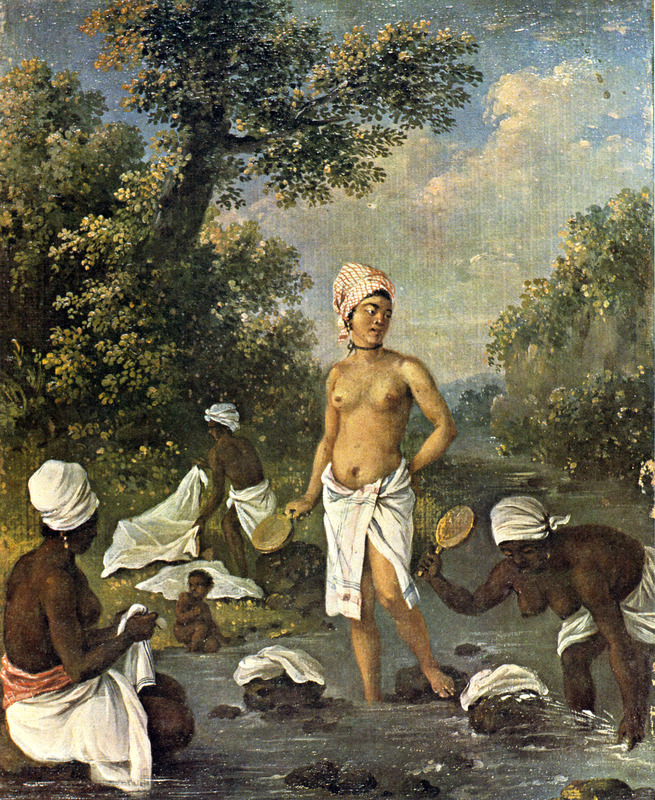 """This oil painting shows several women washing clothes in a river, while a small child is playing by a riverside. The location is not given, but it is probably Dominica or St. Vincent. Agostino Brunias (1730–1796), also Brunyas, Brunais, was an Italian painter. He went to London in 1758 where he became acquainted with William Young, who was appointed to a high governmental post in West Indian territories acquired by Britain from France during the Seven Year's War. In late 1764, Brunias accompanied Young to the Caribbean as his personal artist. Arriving in early 1765, Brunias stayed in the islands until around 1775, when he returned to England and exhibited some of his paintings. He returned to the West Indies in 1784 and remained there until his death on the island of Dominica in 1796. Although Brunias primarily resided in Dominica, he also spent time in St. Vincent and visited other islands, including Barbados, Grenada, St. Kitts and Tobago. See Lennox Honychurch, """"Chatoyer's Artist: Agostino Brunias and the Depiction of St Vincent,"""" Journal of the Barbados Museum and Historical Society 50 (2004): p.104-128; Hans Huth, """"Agostino Brunias, Romano,"""" The Connoisseur 51 (1962): p. 265-269. See image NW0150-a."""