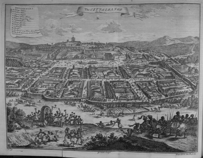 """This engraving depicted the port of Loango along the Loango Coast, including a king's palace, wives' residences, wine house, banquet house and gardens. Some prisoners were about to be executed in the lower righthand corner. Thomas Astley (d. 1759) was a British bookseller and publisher who never went to Africa. His imagined localities and illustrations of Africa were informed by a library of travel books at his disposal. Astley took this image from the work of Olfert Dapper (1636–1689), who was a Dutch physician and writer. He wrote about world history and geography, although he never travelled outside the Netherlands. In an informed discussion of Dapper as an historical source, Adam Jones explains how there is virtually no evidence that """"Dapper took much interest in what sort of visual material was to accompany his text, and that it was the publisher, Van Meurs, who probably did all the engraving himself."""" Even those these images have been used as historical evidence in modern works, Jones concludes that """"few of the plates showing human beings and artefacts are of any value. . . [and] originated solely from Van Meurs' imagination"""" (see """"Decompiling Dapper: A Preliminary Search for Evidence,"""" History in Africa 17 (1990): p. 187-190)."""