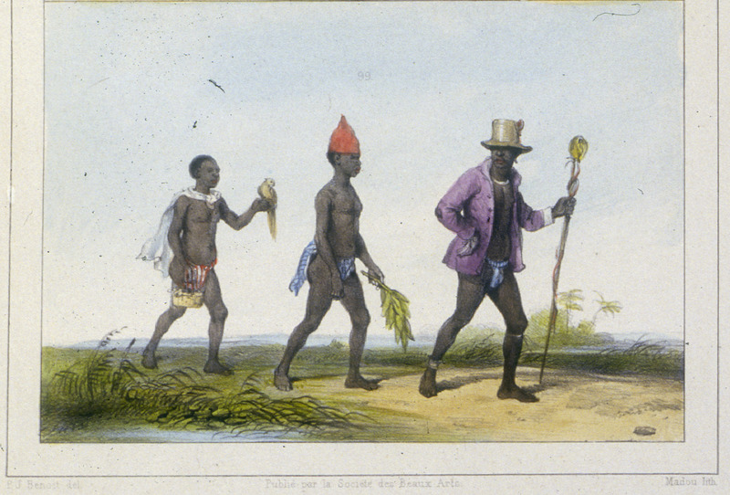 """A Chief on a Trip"" (caption translation). This engraving shows three men walking along a path. Benoit explained that ""when a chief travels in the interior, he is followed by one or two young blacks, and in his hand he carries the symbol of his office, a long bamboo staff interwoven with large leaves and topped with a pommel or really a sphere/globe, which is somewhat like the staffs carried by our drum majors."" Pierre Jacques Benoit (1782-1854) was a Belgian artist, who visited the Dutch colony of Suriname on his own initiative for several months in 1831. He stayed in Paramaribo, but visited plantations, maroon communities and indigenous villages inland."