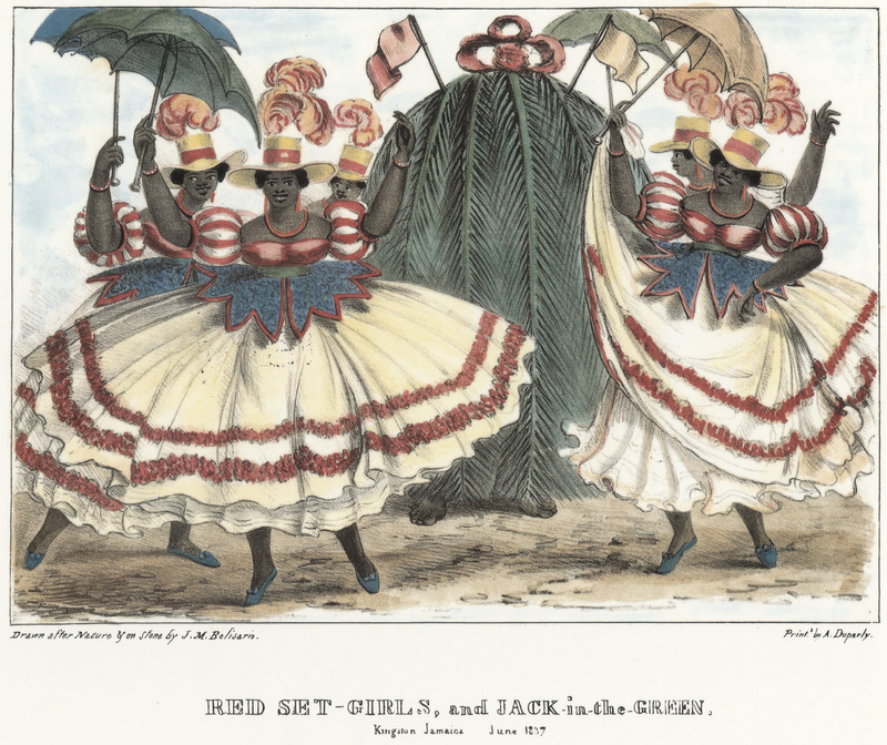 """This lithograph shows an elaborate procession with women holding umbrellas encircling a masquerader. Belisario wrote how """"Their jewelry is not as elaborate as the Queen's, but they always wear earrings and bracelets, such lovers are they of ornaments. They start dancing in the late mornings and parade the town with little intermission till night, when they are invited to enter private houses to dance and sing. . . Refreshments and a gratuity are presented them. . . and they retire to repeat the same elsewhere till a late hour. The Jack-in-the-Green wears a costume composed of the leaves of the cocoa-nut tree, attached to hoops, diminishing in circumference to the top, which is crowned by a large bow with the addition of a couple of flags."""" Isaac Mendes Belisario (1795–1849) was a Jamaican artist of Jewish descent and active in Kingston Jamaica around British emancipation in 1833. The image shown here, as well as others of """"John-Canoes,"""" was drawn from life by Belisario in 1836. This lithograph is one of twelve originally published in three parts, four plates at a time. See also image Belisario04."""