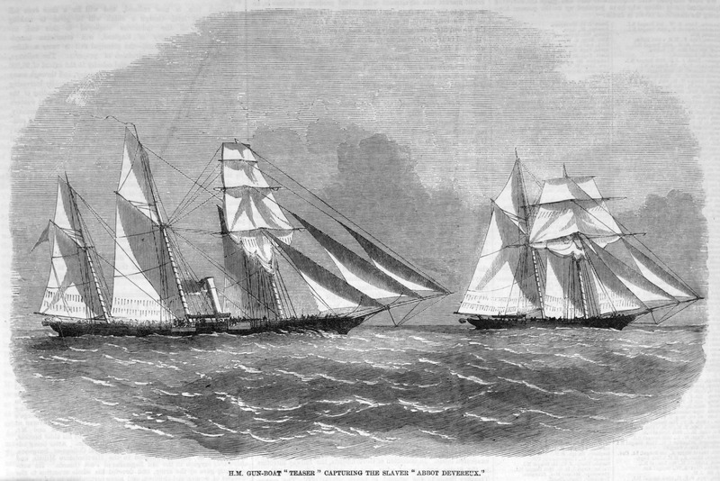 Caption, H.M. Gun-boat 'Teaser' capturing the slaver 'Abbot Devereux'. Written by the captain or another officer of the British naval vessel, this eyewitness account, dated Aug. 6, 1857 (with accompanying sketches), describes the capture of a slaver off the coast of Whydah (Ouidah), in West Africa. There were 235 enslaved Africans on board, and although the nationality of the slaver is not mentioned, it had a 27 man crew of Spaniards, Americans, Portuguese, and Brazilians. The writer describes the chase in detail and adds: As soon as we boarded her the hatches were opened, and such a scene never was witnessed. The slaves had been battened down all day during our nine hours' chase. They were all seasick and the stench and filth are incredible; perhaps you can imagine 235 human beings shut up in a place 50 feet by 20 feet, and only 3 feet 6 inches high, just room enough to clear the top of their heads when they are in a sitting position. They cried and sang, and those who could danced with delight. The liberated Africans were sent to Sierra Leone, the first full vessel taken to Sierra Leone for upwards of nine years (pp. 283-284).