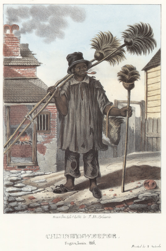 """This lithograph shows a man covered in soot, wearing tattered clothes, carrying several brooms and smoking a pipe. Belisario explained how the sweeper cleaned """"the typical kitchen-chimney with its covered top, as a protection to the fire during the heavy falls of rain."""" Noting that """"the preferred wood used in kitchens is the cashew, the inhabitants of Kingston are by law obliged to have their chimneys frequently swept, a precaution highly requisite in a city where the houses are shingled."""" Isaac Mendes Belisario (1795–1849) was a Jamaican artist of Jewish descent and active in Kingston Jamaica around British emancipation in 1833. The image shown here, as well as others of """"John-Canoes,"""" was drawn from life by Belisario in 1836. This lithograph is one of twelve originally published in three parts, four plates at a time."""