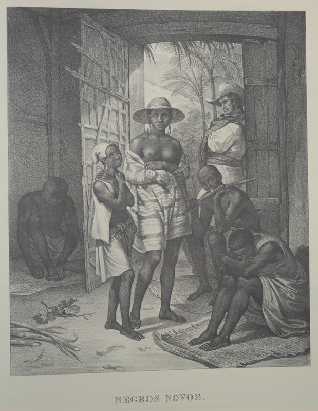 Caption, Negros novos (new blacks). For an analysis of Rugendas' drawings, as these were informed by his anti-slavery views, see Robert W. Slenes, African Abrahams, Lucretias and Men of Sorrows: Allegory and Allusion in the Brazilian Anti-slavery Lithographs (1827-1835) of Johann Moritz Rugendas (Slavery & Abolition, vol. 23 [2002], pp. 147-168).