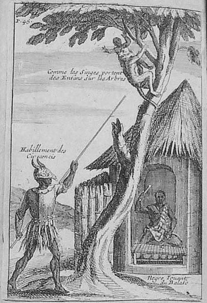 """This image depicts different scenes. The text in the images states """"comme les singes portent des enfans sur les arbres"""" or """"how monkeys carry their babies in the trees;"""" """"habillement des circoncis""""  or """"dress of circumcised young men;"""" """"Negre jouant du balafo"""" or """"Negro playing the balafon."""" Otherwise, the image shows conical house with thatched roof. The 1698 English edition (London) contains this image, but facing p. 33, while the 1699 Amsterdam edition contains a similar, albeit derivative and not identical copy (facing p. 45). The image of a """"Negre Jouant du Balafo"""" is in Jean Baptiste Labat , Nouvelle Relation de l'Afrique Occidentale (Paris, 1728), vol. 2, facing p. 332."""