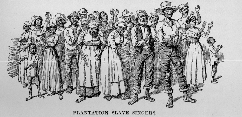 Caption, Plantation Slave Singers. This illustration appears in a chapter titled Life in Ole Virginny Fifty Years AgoóPlantation Scenes and Negro SongsóLife among Black Slaves. Livermore describes going on a picnic with the white children who she taught and supervised. She and her charges were returning from their outing at the end of the day, and a number of field slaves followed their carriage as it went up the drive. They began singing. It was the end of their work day.