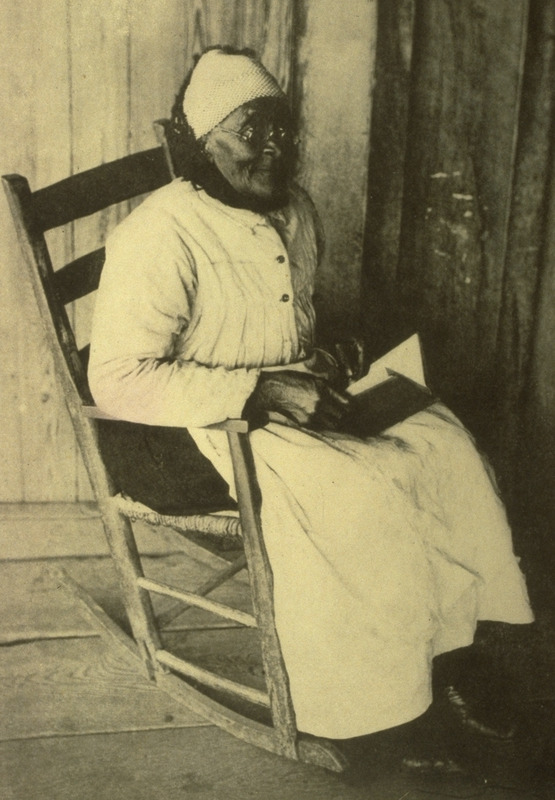 Photograph of ex-slave Jones at the age of 94.  She and two others were the only old slaves I found who were not loyal to their owners. During the [civil] war she tried to burn her master's house (Matthews).
