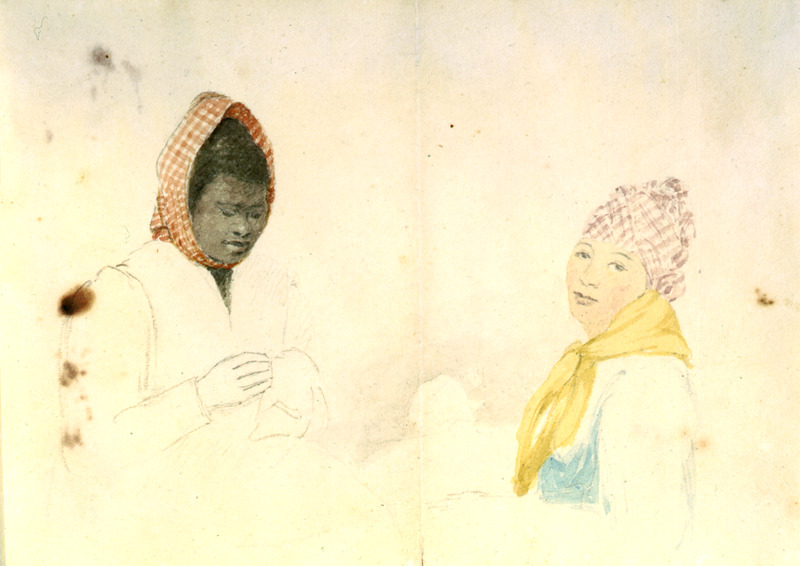 This sketch, partially in watercolour, shows the heads of two unidentified women who are wearing head-ties. William Berryman was an English artist who lived in Jamaica for eight years between 1808 and 1816. He produced about 300 pencil drawings and watercolour of people, landscape, settlements, and flora in the island's southern parishes and the general region surrounding Kingston. Several other Berryman works are reproduced in T. Barringer, G. Forrester, B. Martinez-Ruiz, et al., Art and Emancipation in Jamaica: Isaac Mendes Belisario and his Worlds (New Haven: Yale Center for British Art in association with Yale University Press, 2007).
