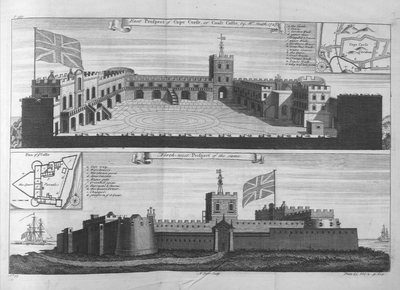 This engraving shows the top plan of Cape Coast Castle and other features surrounding the castle, e.g., the town, various paths. The bottom plan depicts gun placements, warehouses, barracks, etc. Astley adapted this image from William Smith, who was a surveyor employed by the Royal African Company in 1726 to survey their forts in West Africa. Thomas Astley (d. 1759) was a British bookseller and publisher who never went to Africa. His imagined localities and illustrations of Africa were informed by a library of travel books at his disposal.