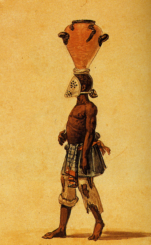 """White Iron Mask that One Makes Negro Wear"" (caption translation). This image shows an enslaved man wearing an iron mask over his face. He was carrying a large ceramic jar on his head. Brazilian masters compelled slaves who were prone to eat earth or dirt to wear such masks. This illustration does not appear to have been published in Debret's, Voyage Pittoresque et Historique au Bresil (Paris,1834-39), although another slave, wearing such a mask, is illustrated in vol. 2, plate 10, captioned une visite a la campagne (a visit to the country). The engravings in this book were taken from drawings made by Debret during his residence in Brazil from 1816 to 1831. For watercolors by Debret of scenes in Brazil, some of which were incorporated into his Voyage Pittoresque, see Jean Baptiste Debret, Viagem Pitoresca e Historica ao Brasil (Editora Itatiaia Limitada, Editora da Universidade de Sao Paulo, 1989; a reprint of the 1954 Paris edition, edited by R. De Castro Maya. For a description of this mask in Brazil, see image ewbank3."