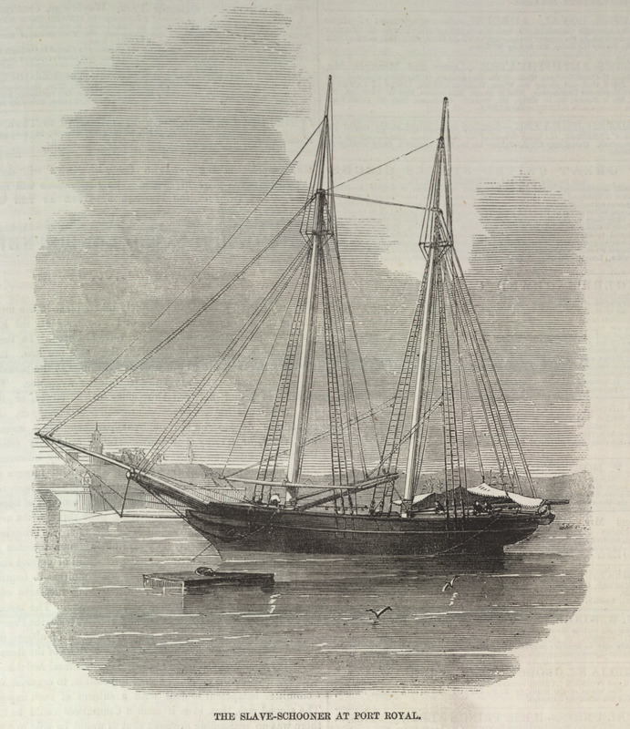 Caption, The slave-schooner at Port Royal. This is one of a group of five illustrations that accompany a letter to the editor describing the capture by the British Navy of a slave ship, the Zeldina, blown off course near the coast of Cuba. Dated Kingston, Jamaica, May 11, 1857, the letter includes excerpts from two Jamaican newspapers; these provide details on the capture and the condition of the Africans on board. The engravings shown here were made from photographs sent by the writer to the Illustrated London News. In brief, these accounts relate how in April a British naval vessel captured the slave ship and brought it to Port Royal. On board were the 370 survivors of the approximately 500 Africans who had been boarded in Cabinda (Angola) approximately 46 days earlier. A contemporary newspaper describes their condition as follows: The poor captives were in a wretched condition--all of them naked; and the greater part seemed to have been half starved. They were packed closely together, and covered with dirt and vermin . . . . The slave-schooner had two decks and between them the captives were packed in such a manner that they had scarcely room to move. During each day of the voyage they sat in a painful posture, 18 inches only being allowed for each to turn in . . . in a deck room of 30 feet in length . . . [they were] brought up in platoons once every day to get a small portion of fresh air . .  (ILN, pp. 595-596). Thanks to David Eltis for providing the name of the slave ship.