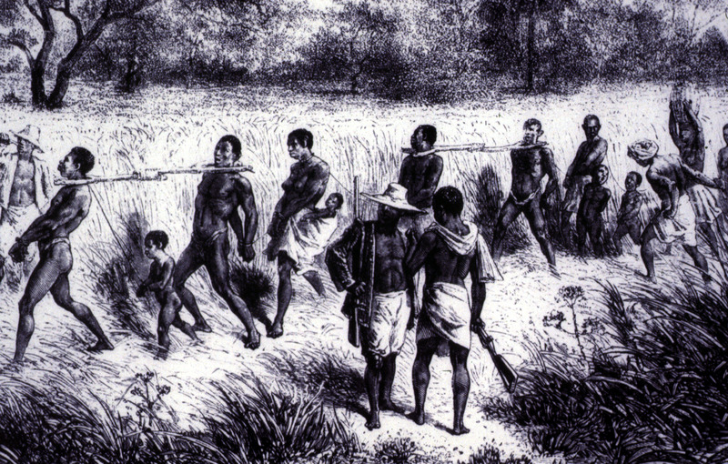 "The title and image obtained from Tibble. His caption is ""A Coffle: Captives were marched, often in yokes, from the inland areas of Africa to the coast for sale to Europeans"" (p. 102). This image is also published in James Walvin, An African's Life: The Life and Times of Olaudah Equiano, 1745-1797 (Cassell, 1998, p. 11), which cites the original source as Verney Lovett Cameron, Travels in Central Africa (1873). However, there is no book by that title under Cameron's authorship. The image is also in Walvin's Black Ivory (London, 1992), but no original source is identified. This image is one of several images derived from the original engraving in David and Charles Livingstone, Narrative of an Expedition to the Zambesi and its Tributaries (London, 1865). See image reference C019."