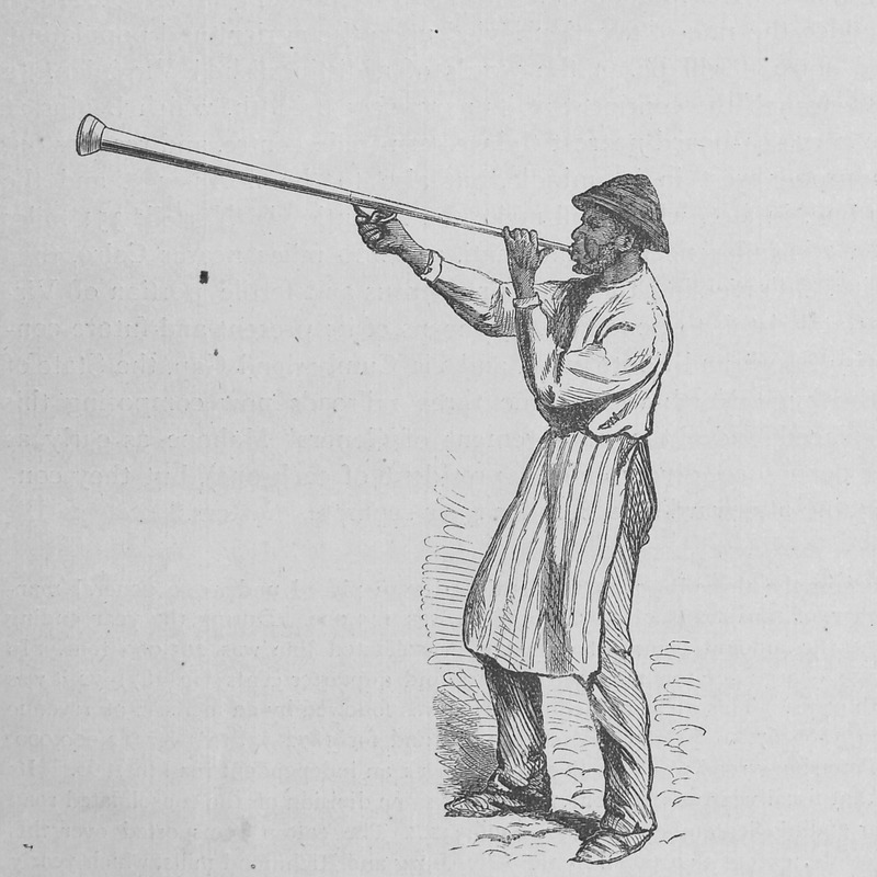 A man is blowing a horn by which buyers are summoned to a tobacco sale (p. 560). Original sketch made by J. Wells Chamney who accompanied the author during 1873 and the spring and summer of 1874. Although relating to the post-emancipation period, the scene evokes the later ante-bellum years.