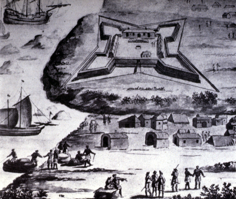 This unidentified image shows a slave fort in the Voltaic region. In the foreground are African houses, people and boats. Note Africans being loaded on small boats on the beach. Fort Fredericksburg was completed in 1683, following a Brandenburg expedition under the command of Otto Friedrich von der Groeben in 1681.