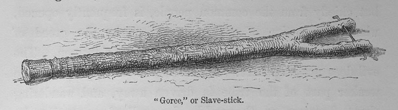 """David Livingstone does not appear to describe this slave stick, which consisted of a forked branch which was the same size of a neck so the head cannot pass through it. The two ends of the fork contained holes so that an iron pin could close off the fork  across the neck. The term Goree likely refers to Gorée Island in the Senegambia region, although this image depicts enslaved people from East Central Africa and the Great Lakes region. David Livingstone (1813–1873) was a famous Scottish physician, Christian missionary, explorer and abolitionist. His interest was to locate the source of the Nile River. His missionary work also reinforced the European """"Scramble for Africa"""" and the colonization of the continent.  See images LCP-12, PRO-4 and Mariners09."""