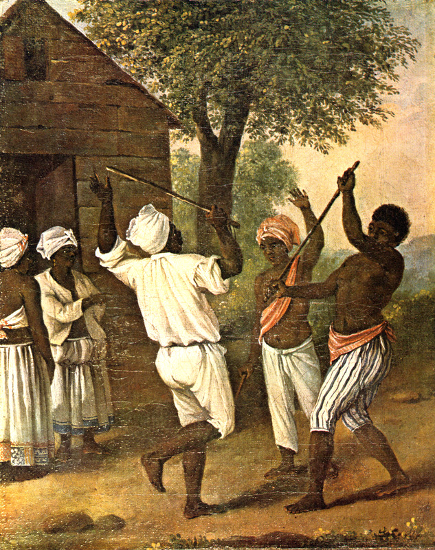 """This oil painting shows two men stick-fighting with a man and two women watching. Agostino Brunias (1730–1796), also Brunyas, Brunais, was an Italian painter. He went to London in 1758 where he became acquainted with William Young, who was appointed to a high governmental post in West Indian territories acquired by Britain from France during the Seven Year's War. In late 1764, Brunias accompanied Young to the Caribbean as his personal artist. Arriving in early 1765, Brunias stayed in the islands until around 1775, when he returned to England and exhibited some of his paintings. He returned to the West Indies in 1784 and remained there until his death on the island of Dominica in 1796. Although Brunias primarily resided in Dominica, he also spent time in St. Vincent and visited other islands, including Barbados, Grenada, St. Kitts and Tobago. See Lennox Honychurch, """"Chatoyer's Artist: Agostino Brunias and the Depiction of St Vincent,"""" Journal of the Barbados Museum and Historical Society 50 (2004): p.104-128; Hans Huth, """"Agostino Brunias, Romano,"""" The Connoisseur 51 (1962): p. 265-269. See also image NW0158."""