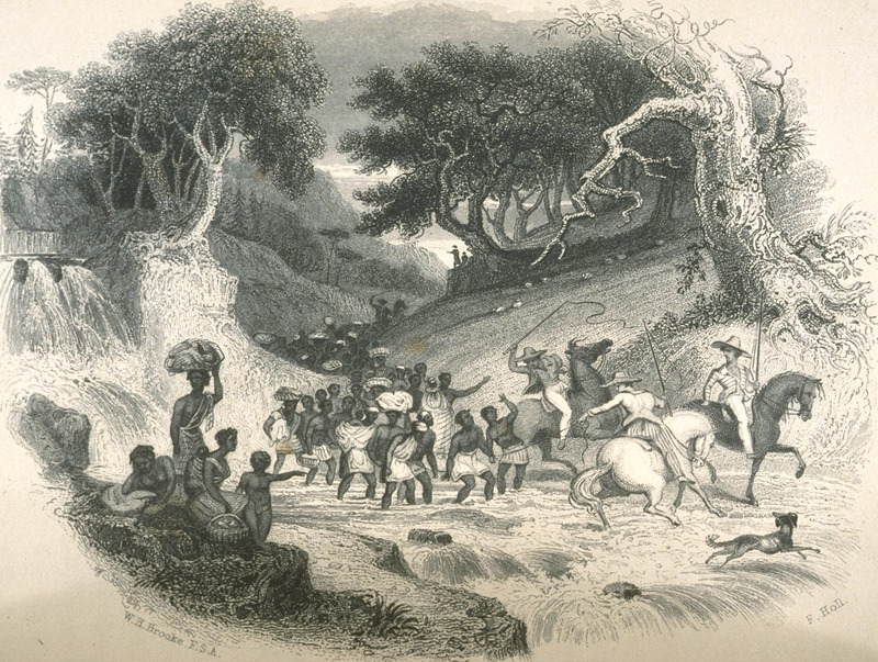 Caption, Gang of Slaves journeying to be sold in a Southern Market; illustrates the domestic slave trade in the U.S. James Buckingham viewed this scene in September, 1839, a few miles from Fredericksburg. It was in a valley , he wrote, that we met a gang of slaves, including men, women, and children, the men chained together in pairs, and the women carrying the children and bundles on their march to the south. The gang was under several white drivers, who rode near them on horseback, with large whips, while the slaves marched on foot beside them; and there was one driver behind, to bring up the rear . . . . They were chained together for precaution, rather than punishment; because when accompanied by one or two white men . . . they might be tempted to rise against them in any solitary part of the road, or, at the very least, escape from them if they could. . .  (pp. 552-553). Secondary sources which reproduce this image sometimes, without citing the original source, caption this crossing the Rapidan river, but the author does not identify the body of water shown in the illustration; moreover, given the route that he describes having taken, it is unlikely it was the Rapidan.