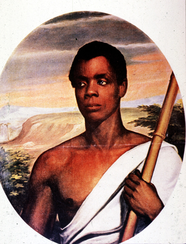 "Joseph Cinqué (ca. 1814–ca. 1879), also known as Sengbe Pieh, was Mende from the Upper Guinea Coast. He helped lead a revolt of many Africans on the Spanish slave ship, La Amistad. Robert Purvis, a leading black abolitionist from Philadelphia, commissioned this studio portrait. Jocelyn was an abolitionist sympathizer. Cinqué is shown in a toga, rather than in traditional Mende clothing. His facial features seem to have been made less African than they actually appeared. For details on Cinque see, for example, John W. Barber, A History of the Amistad Captives (New Haven, Connecticut, 1840) and Mary Cable, Black Odyssey: The Case of the Slave Ship Amistad (New York, 1971). For details on this painting, see Eleanor Alexander, ""A Portrait of Cinque,"" Connecticut Historical Society Bulletin, 49 (1984), p. 31-51; and M. Harris, Colored Pictures (University of North Carolina Press, 2003), p. 34-36.  A slide of the image shown here was made from an unidentified secondary source. See also Harris (above) and Hugh Honour, The Image of the Black in Western Art (Menil Foundation, Harvard University Press, 1989), vol. 4, pt. 1, p. 158, fig. 96."