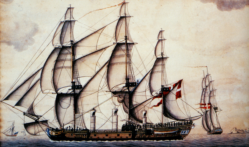 Caption, The Fredensborg II heading for St. Croix with a cargo of slaves. This painting, dated 1788, does not depict the Fredensborg described in the Svalesen book, but a later ship of the same name and design. In 1767-68, the Fredensborg I, a Danish slave ship, sailed the triangular trade from Copenhagen to the Gold Coast to the Danish West Indies and return. Note, the three-cylindrical structures hanging above the deck.  These slave frigates had some special equipment which distinguished them from ordinary merchant vessels. First, there were the funnels (or so-called 'windsails') with openings in the direction of the wind. They were made of canvas and their function was to funnel fresh air down to the slaves in the hold. . . . The two foreward funnels provided fresh air down to the male slaves, while the funnel closest to the stern sent air to the women and children. Every evening the funnels were hoisted up and the hatches closed and bolted for security reasons (Svalesen, p. 106). Details relating to the voyage of the Fredensborg I can be found in the Svelesen book. (Permission to place this image on website, courtesy of Leif Svalesen and the Danish National Archives; we are grateful to Erik Gobel for his assistance.)