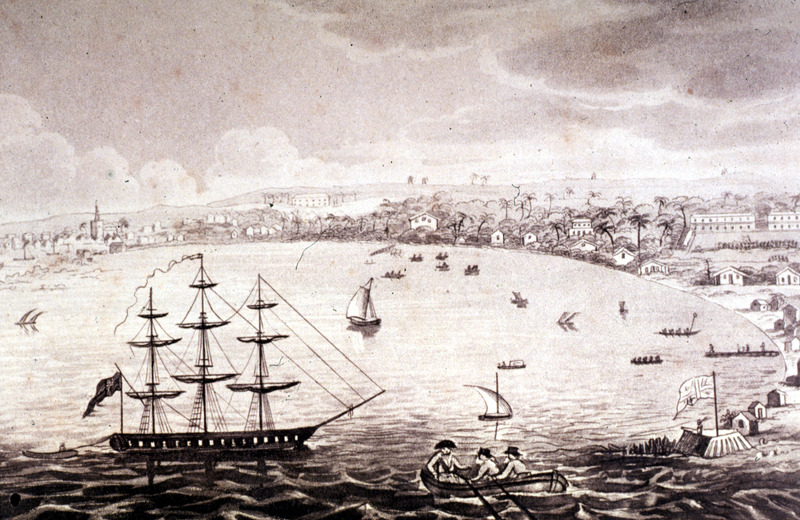 """John A. Waller, a surgeon in the British Navy, lived in Barbados for a year in 1807-08, but it is not known if this scene is based on his sketches. Carlisle Bay was the island's major port. Of the scene he witnessed when he first arrived in April, 1807, Waller wrote """"the bay was covered with boats, conveying backwards and forwards the merchants of the place, rowed by their slaves. . . A number of slave ships too, just arrived, were lying close to us, whose owners were taking all possible advantage of the last weeks of their expiring commerce [Britain was to abolish the slave trade in 1807]. The poor wretches were going on-shore by hundreds from the slave-ships, in large barges, for the purpose of being exposed to sale. Barbados had no deep water harbor and ocean going vessels had to transfer their cargoes (human and non-human) to barges or lighters"""" (p. 3)."""