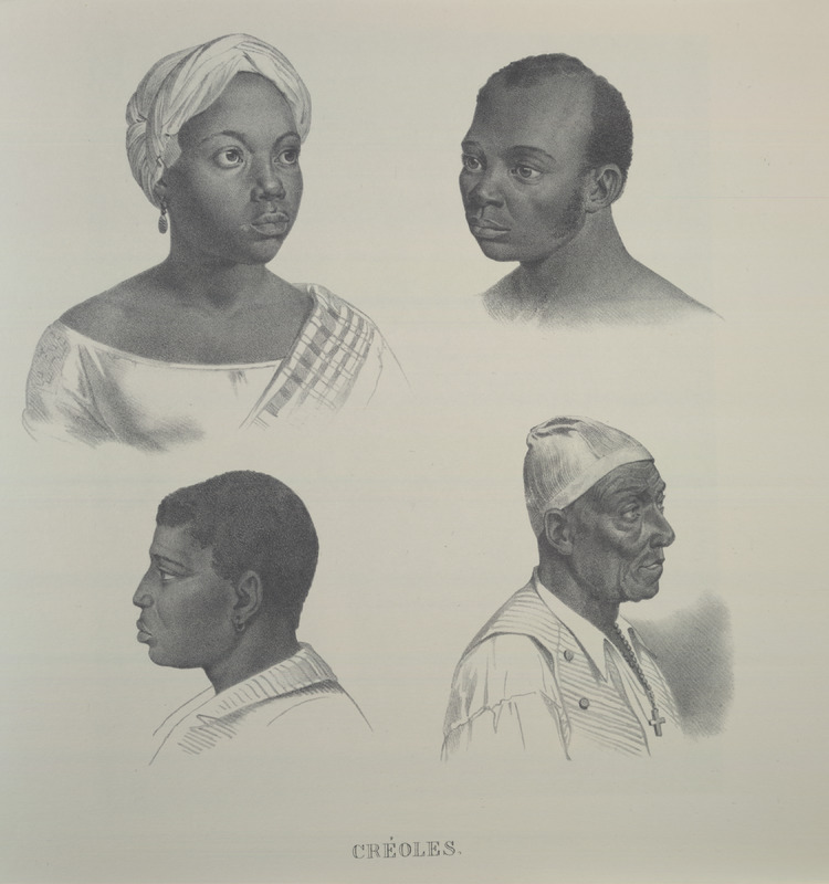 Four facial views. For an analysis of Rugendas' drawings, as these were informed by his anti-slavery views, see Robert W. Slenes, African Abrahams, Lucretias and Men of Sorrows: Allegory and Allusion in the Brazilian Anti-slavery Lithographs (1827-1835) of Johann Moritz Rugendas (Slavery & Abolition, vol. 23 [2002], pp. 147-168).