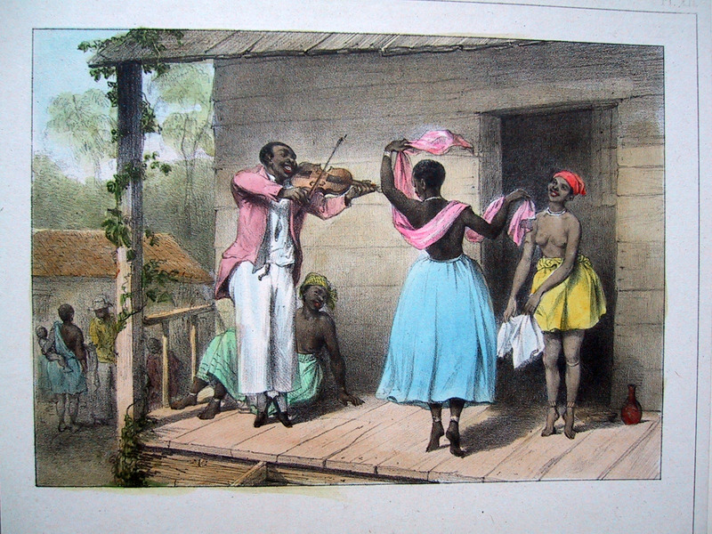 """A Creole Dance Teacher, Teaching Some Steps to a Negro Slave Woman and a Creole Woman"" (caption title). This illustration shows a creole dance master playing a violin, while an enslaved woman and a creole woman dance. Benoit described how ""the pupils are being taught to dance on their toes; they are very superior in this exercise, the author writes, to our European dancers"" (p. 27). Pierre Jacques Benoit (1782-1854) was a Belgian artist, who visited the Dutch colony of Suriname on his own initiative for several months in 1831. He stayed in Paramaribo, but visited plantations, maroon communities and indigenous villages inland."
