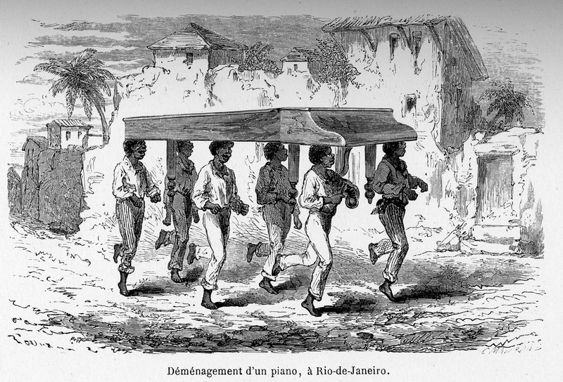 """""""Moving a Piano, in Rio de Janeiro"""" (caption translation). This engraving shows six men who seem to be jogging while singing something as they transport a piano on their heads through the streets. They are part of a much larger group involved in moving someone's household goods and furniture. François-Auguste Biard (1799-1882), or François Thérèse Biard, was a French painter and traveler. Around 1858, he spent two years in Brazil working at the court of Emperor Pedro II. From Rio de Janeiro, he made several excursions into the interior, where he painted some of the earliest images of indigenous people in the Amazon. On his return to France, he went through North America and painted scenes depicting slavery. He published around 180 engravings and was sometimes criticized for inserting humour in otherwise serious paintings. See Ana Lucia Araujo, Brazil through French Eyes: A Nineteenth-Century Artist in the Tropics (Albuquerque: University of New Mexico Press, 2015)."""