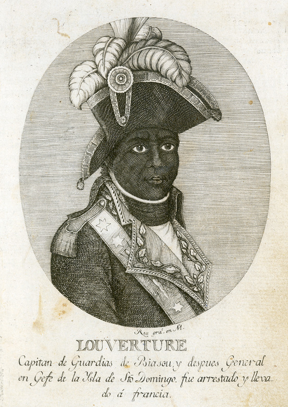 Caption, Louverture Capitan de Guardias de Biasou y despues General en Gefe de la Ysla de S[an] to Domino, fue arrestado y lleva do a francia (Louverture Captain of the Guards of [Georges] Biasou and later General-in-Chief of the island of Saint Dominque, was arrested and taken to France). This image appears to have been derived from a finer/clearer one published in 1802 by Symonds in London and captioned Toussaint Louverture. Chief of the French Rebels in St. Domingo. No eye-witness portraits of Toussaint are known to exist. See other images of Toussaint on this website.