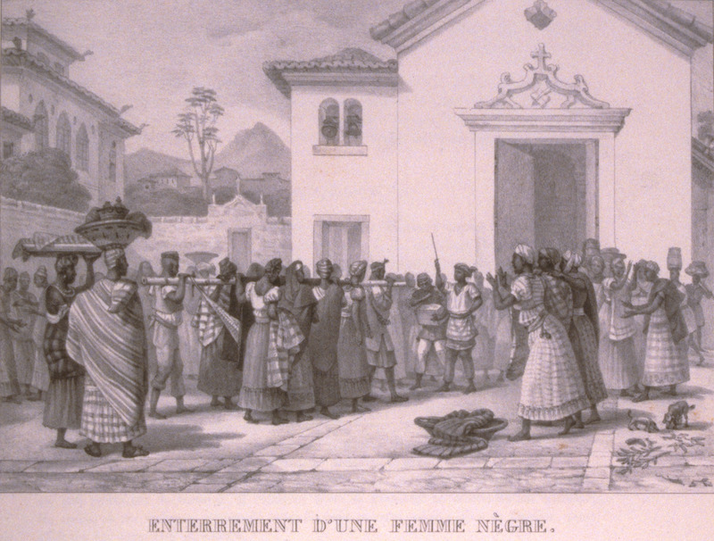 Caption, Enterrement d'une Femme Negre (funeral of a black woman). Shows entourage entering church, corpse on a litter carried by men and women; surrounding crowd singing and clapping. The engravings in this book were taken from drawings made by Debret during his residence in Brazil from 1816 to 1831. For watercolors by Debret of scenes in Brazil, some of which were incorporated into his Voyage Pittoresque, see Jean Baptiste Debret, Viagem Pitoresca e Historica ao Brasil (Editora Itatiaia Limitada, Editora da Universidade de Sao Paulo, 1989; a reprint of the 1954 Paris edition, edited by R. De Castro Maya).