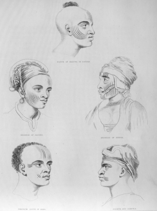 This engraving shows hair styles, headdresses and facial scarification patterns of seven people. The captions under each person read: Native of Kasuna in Soudan (top); Negress of Jacoba [Yacoba] (center left); Negresse of Nyffee (center right); Umbuum of South Kano (lower left); Goobar and Zamfra (lower right). All located in the Central Savanna region. This engraving is based on sketches by Dixon Denham (1786–1828), who was an English soldier and explorer. After serving in the Napoleonic Wars, Denham volunteered in 1821 to join Walter Oudney and Hugh Clapperton on an official expedition across the Sahara from Tripoli to in the Lake Chad basin of the Central Savanna region. After enduring danger and privation, they arrived at Kuka, the capital of Bornu, in 1823. While Clapperton and Oudney set out on a journey westward, Denham traveled the shores of Lake Chad and the lower courses of the Waubé, Chari and Logone rivers. After returning to England in 1825, Denham became the superintendent of Liberated Africans in Freetown in 1827, and the year after, he became governor of Sierra Leone.