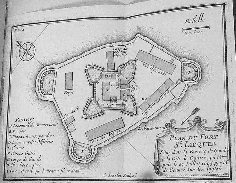 """Plan of Fort St. Jacques, Situated on the Gambia River"" (caption translation). This image shows the layout and architectural features, including holding areas or quarters for slaves (cases des negres and logement des Negres). In addition, (A) the Governor's quarters/residence and (C) powder magazine. Also published in Jean Baptiste Labat, Nouvelle Relation de l'Afrique Occidentale (Paris, 1728), vol. 4, facing p. 286."