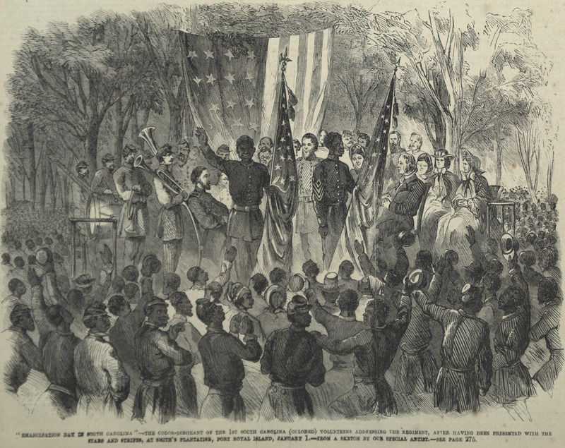 Caption, The color-sergeant of the 1st South Carolina (Colored) addressing the regiment after having been presented with the Stars and Strips, at Smith's plantation, Port Royal, January 1. Shows former slaves of South Carolinia sea islands, freed by the Emancipation Proclamation, celebrating. Sergeant Prince Rivers and Corporal Robert Sutton present the colors, while the former addresses the crowd; white teachers and missionaries from the North are seated on the platform.