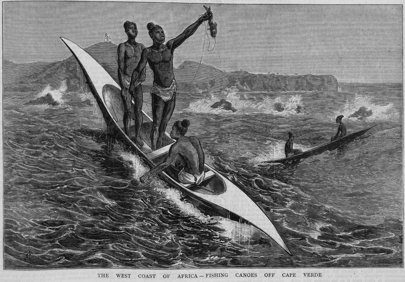 This image depicts line fishing from canoes off of the Cape Verde islands. Also shows loin cloths and hairstyles of fishermen and gives some idea of the heavy surf.