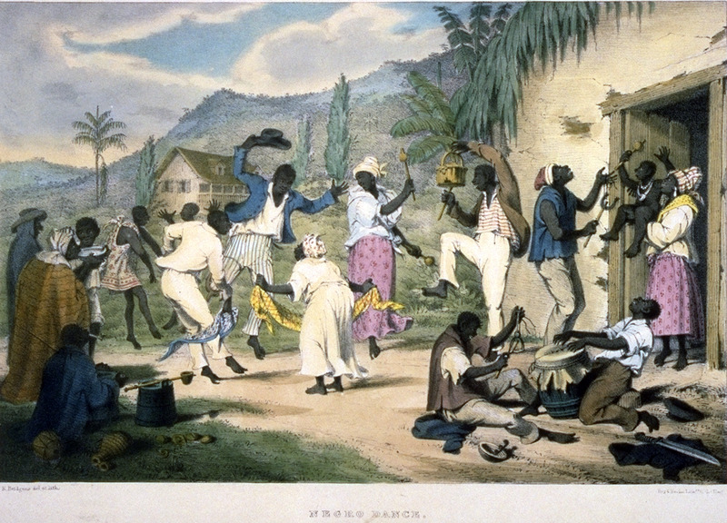 Caption, Negro Dance. A plantation dance, probably held on a weekend, and musical instruments. Bridgens stresses the importance of the dance and dancing in the life of the enslaved, and how people normally dress in their best clothes. The instruments include a drum, made of a barrel, covered at one end with a piece of dried goat's skin, and a . . . shak-shak, formed of a hollow calabash, in which some shot or stones are enclosed (Bridgens). The Library of Congress has a colored lithograph (shown here); in other copies of the Bridgens book, it is in black/white. A sculptor, furniture designer and architect, Richard Bridgens was born in England in 1785, but in 1826 he moved to Trinidad where his wife had inherited a sugar plantation, St. Clair. Although he occasionally returned to England, he ultimately lived in Trinidad for seven years and died in Port of Spain in 1846. Bridgens' book contains 27 plates, thirteen of which are shown on this website. The plates were based on drawings made from life and were done between 1825, when Bridgens arrived in Trinidad, and 1836, when his book was published. Although his work is undated, the title page of a copy held by the Beinecke Rare Book Room at Yale University has a front cover with a publication date of 1836, the date usually assigned to this work by major libraries whose copies lack a title page. Bridgens' racist perspectives on enslaved Africans and his defense of slavery are discussed in T. Barringer, G. Forrester, and B. Martinez-Ruiz, Art and Emancipation in Jamaica: Isaac Mendes Belisario and his Worlds (Yale University Press, 2007), pp. 460-461. Bridgensí life is discussed extensively along with discussion of his drawings and presentation of many details on slave life in Trinidad in Judy Raymond, The Colour of Shadows: Images of Caribbean Slavery (Coconut Beach, Florida: Caribbean Studies Press, 2016). Raymondís book, which is an essential source for any study of Bridgens, also includes a number of unpublished sket