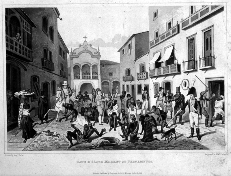 "An alternate title in list of plates is ""View of Count Maurice's Gate at Pernambuco, with the slave market."" This street scene shows enslaved Africans waiting to be sold, surrounded by Europeans. The engraving is derived from a painting made by the English artist Augustus Earle (1793-1838) who lived in Rio de Janeiro in 1820-1824. The 1824 Royal Academy annual exhibition catalogue identifies this painting as: ""Gate of Pernambuco, in Brazil, with new negroes. The police ordering the slaves to be housed, on account of an attack made on one of the out-posts by the patriots, in 1821. Painted in Brazil. Augustus Earle, Esq. H[onorary]. During his stay in Brazil, Earle executed a number of works focusing on slavery."" Maria Graham (née Dundas; 1785–1842), also known as Maria Lady Callcott, was a British writer of travel and children's books, as well as an illustrator. She went to Brazil on her return to England from Chile in 1823, which is the year Brazil declared their independence from Portugal. She stayed at the royal palace."
