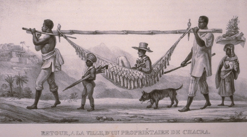 Caption, retour a la ville d'un proprietere de chacra (a landowner/planter of Chacra returns to town). The Brazilian scholar, Gilberto Freyre, writes: Within their hammocks and palanquins the gentry permitted themselves to be carried about by Negroes for whole days at a time, some of them travelling in this manner from one plantation to another . . . . Nearly all [slaveholders] travelled by hammock . . . (The Masters and the Slaves [New York, 1956], pp. 409-410, 428). The engravings in this book were taken from drawings made by Debret during his residence in Brazil from 1816 to 1831. For watercolors by Debret of scenes in Brazil, some of which were incorporated into his Voyage Pittoresque, see Jean Baptiste Debret, Viagem Pitoresca e Historica ao Brasil (Editora Itatiaia Limitada, Editora da Universidade de Sao Paulo, 1989; a reprint of the 1954 Paris edition, edited by R. De Castro Maya).