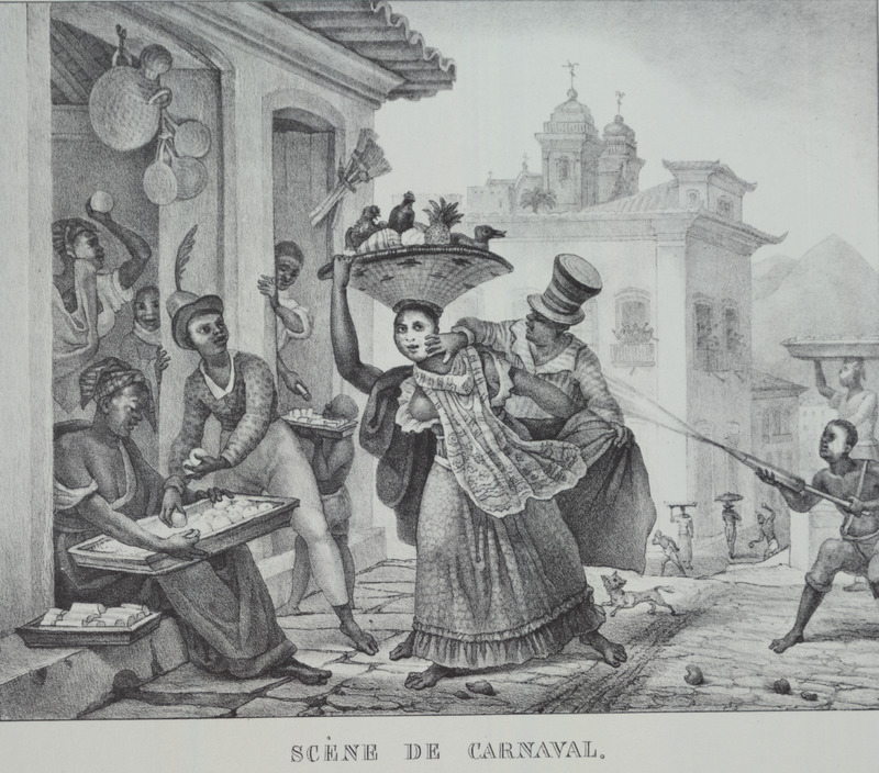 Caption, scene de carnaval [carnival scene], featuring masked dancer and onlookers in urban setting. The boy in the lower right hand corner is shown spraying some substance at a well-dressed person and appears to be enacting a special ritual in carnival known as entrudo.  According to Mary Karasch, What made the entrudo attractive to some slaves, especially the young, and to free women was that this was the only time of the year in which they were permitted to attack or trick their parents, relatives, spouses, or friends. It was a socially sanctioned method of releasing tensions and aggressions without challenging the social structures in the city. During the entrudo slaves armed themselves with tin syringes filled with water with which they squirted other slaves, especially girls and women. Others gathered on the beaches or around fountains and dunked each other in the water . . Those armed with wax fruits pelted their friends and enemies with perfumed or dirty water (Mary C. Karasch, Slave Life in Rio de Janeiro, 1808-1850 [Princeton, 1987], p.250. Thanks to James Sweet for his assistance). The engravings in Debret's book were taken from drawings he made during his residence in Brazil from 1816 to 1831. For watercolors by Debret of scenes in Brazil, some of which were incorporated into his Voyage Pittoresque, see Jean Baptiste Debret, Viagem Pitoresca e Historica ao Brasil (Editora Itatiaia Limitada, Editora da Universidade de Sao Paulo, 1989; a reprint of the 1954 Paris edition, edited by R. De Castro Maya).