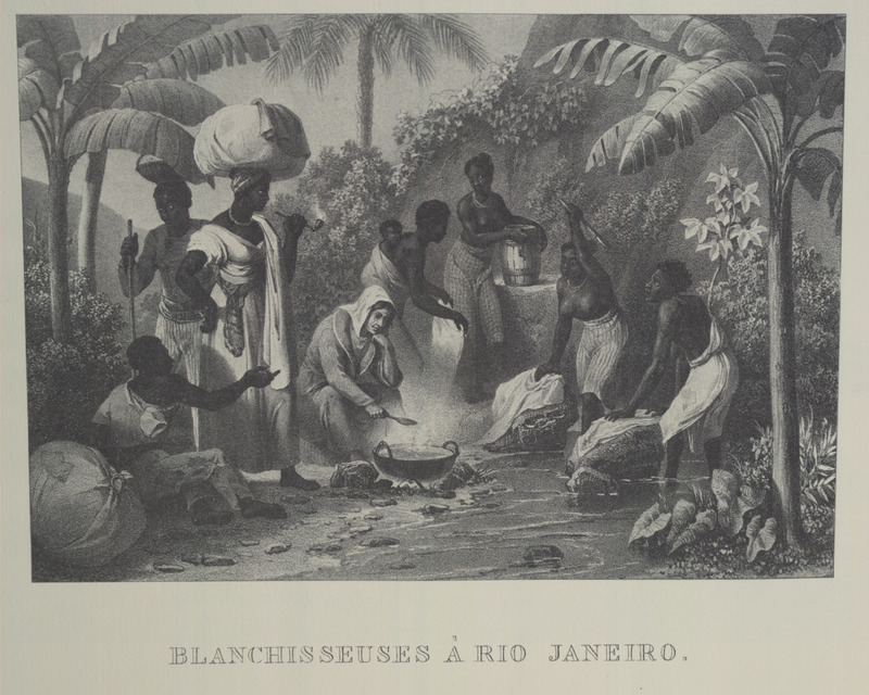 Caption, Blanchisseuses a Rio Janeiro (washerwomen at Rio....); group of black women at a river; also a European (?) woman cooking. For an analysis of Rugendas' drawings, as these were informed by his anti-slavery views, see Robert W. Slenes, African Abrahams, Lucretias and Men of Sorrows: Allegory and Allusion in the Brazilian Anti-slavery Lithographs (1827-1835) of Johann Moritz Rugendas (Slavery & Abolition, vol. 23 [2002], pp. 147-168).