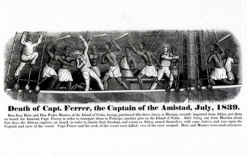 This image shows enslaved Africans revolting on the top deck of a slave ship. The lengthy commentary underneath gives details on the Amistad revolt.