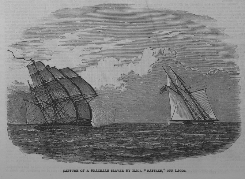 Captioned, Capture of a Brazilian Slaver by H.M.S. 'Rattler' off Lagos, the brief accompanying article (p. 440) describes the nine hour pursuit and capture, off the coast of present-day Nigeria, of the notorious piratical slave schooner, Andorinha in August 1849. The Rattler is shown on the left. The slaver was manned by a motely crew, consisting of 39 cut-throat looking fellows. The commander was Brazilian. The slaver was a large, American-built schooner, which had frequently made slaving voyages to the Nigerian coast, primarily the Bight of Benin, and was often chased by British vessels stationed in those waters. This was her last voyage. The article says nothing about any slaves that were on board. (see also image iln409).