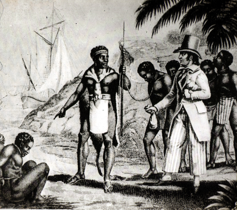 """Aguet did not provide a comprehensive bibliography in her book or provide titles of the images. The caption she wrote about this image explained how """"The defenders of the slave trade argued that African kings themselves were only too willing to sell their Negro subjects to white men. However, without buyers, there would have been no sellers."""""""