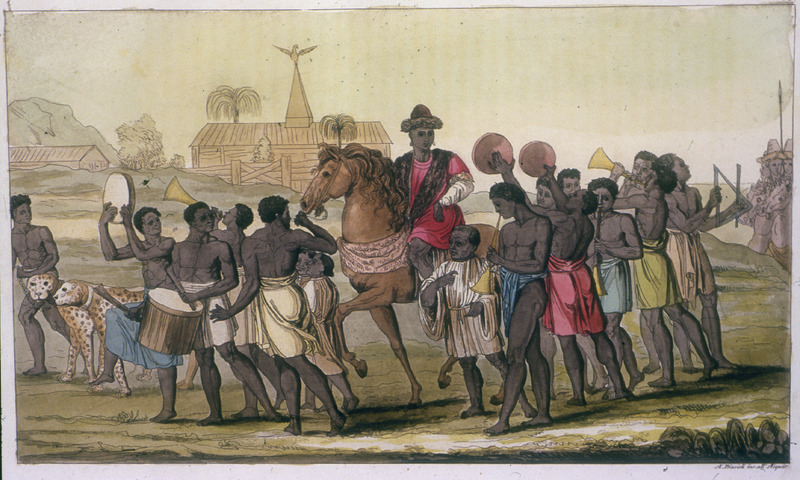 """Public Appearence of the King of Benin"" (caption translation). This artistic impression shows an Oba from the Bight of Benin region mounted on a horse and surrounded by retainers playing various musical instruments. Giulio Ferrario (1767-1847) never went to African but produced volumes aimed at the ""encyclopedic"" organization of disparate knowledge as ""entertainment"" in the exotic and the different. This image appears to be derived from one edition or another of Dapper (e.g., 1668, 1686). See image BO17."