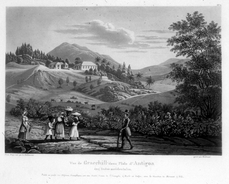 """View of Gracehill in the island of Antigua in the West Indies"" (caption translation). This engraving shows the Gracehill plantation with the big house in the background and several enslaved children and a mother with an infant on her back in the foreground. One of a set of four separately published engravings, which were likely compiled by John Henry Lewis Stobwasser, probably the son of Johann H. Stobwasser, who was a Moravian missionary in Antigua from 1812 until 1822; he died in Berlin in 1832 (information courtesy of Perry Miles, derived from research in Moravian Archives, London)."