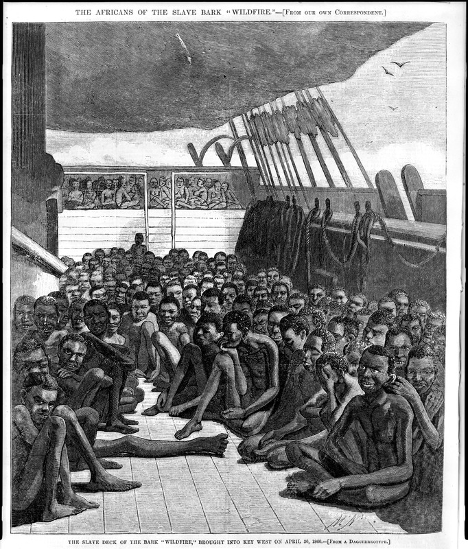 """This widely reproduced engraving shows the emaciated survivors of the Middle Passage on the top deck of the American slave ship Wildfire, owned by New Yorkers. Captured in April 1860 by the U.S. Navy within sight of Cuba (its presumed destination), the Wildfire had violated the U.S. law, enacted in 1808, prohibiting the importation of slaves from overseas. Taken on board at the Congo River at the Loango Coast and Kwanza North regions, the 510 captive Africans who had survived the Atlantic crossing (90 had perished during the voyage) were taken to Key West, Florida. A correspondent for Harper's Weekly boarded the ship soon after it anchored and wrote a very vivid and lengthy account of the captives and their physical condition. His description started with the observation that all of the Africans he saw on the deck """"were in a state of entire nudity, in a sitting or squatting posture. . . They sat very close together, mostly on either side. . . About fifty of them were full-grown young men, and about four hundred were boys aged from ten to sixteen years. When he descended into the deck below, he saw sixty or seventy women and young girls, in nature's dress, some sitting on the floor and others on the lockers, and some sick ones lying in the berths. Four or five of them were a good deal tattooed on the back and arms, and. . . three had an arm branded with the figure '7' which we suppose is the merchant's mark"""" (p. 344). During the Atlantic slave trade, most captive Africans were transported across the Atlantic in a state of complete nudity. See Jerome Handler, The Middle Passage and the Material Culture of Captive Africans, Slavery and Abolition, vol. 30 (2009): p. 1-26. See also image HW007."""